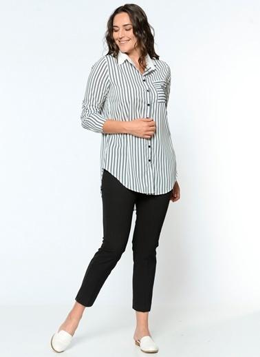 Selen Çizgili Gömlek Bluz Beyaz